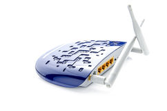 Router. Modern Blue Wi-Fi Router On White Background Stock Photo