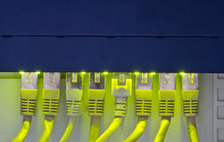 Router and network cables. Router with eight network cables Royalty Free Stock Images