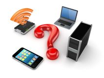 Router,notebook,PC,mobile phone and query sign. Stock Photos