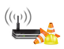 Router and protection barrier Royalty Free Stock Photography