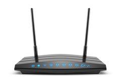 Router senza fili del nero di Wi-Fi con due antenne e l'indicatore blu Fotografia Stock Libera da Diritti