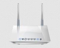 Router senza fili realistico 3D isolato su fondo trasparente Fonte di Wi-Fi e di theInternet Illustrazione di vettore illustrazione vettoriale
