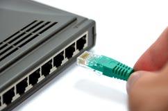Router und grünes Netzkabel lizenzfreies stockfoto
