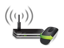 Router and Wireless computer mouse Royalty Free Stock Image
