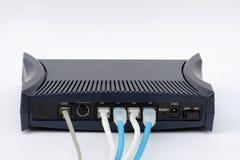 Routera modem odizolowywający łączy LAN na białym tle obraz stock