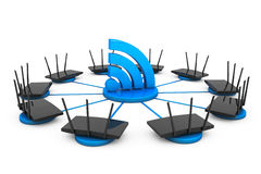 Routers around Wi-Fi sign Royalty Free Stock Photos