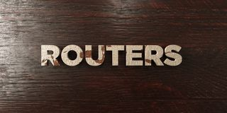 Routers - grungy wooden headline on Maple  - 3D rendered royalty free stock image Royalty Free Stock Photos