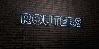 ROUTERS -Realistic Neon Sign on Brick Wall background - 3D rendered royalty free stock image. Can be used for online banner ads and direct mailers vector illustration