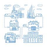 Routes de chaîne d'approvisionnements de l'usine d'industrie à stocker et des bâtiments au détail Illustration tirée par la main  illustration libre de droits