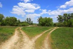 Routes de fourchette sur le pré vert photographie stock libre de droits