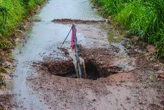 Routes endommagées. Images stock