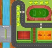 Routes et équipements de sports Images libres de droits
