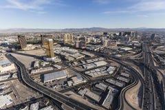 Routes et stations de vacances aériennes de Las Vegas Image libre de droits