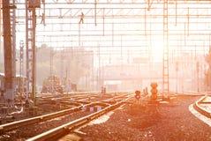 Routes ferroviaires industrielles Photos libres de droits