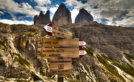 Routes and three peaks... Stock Photo