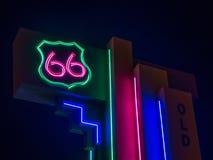 routetecken f?r 66 neon Albuquerque NM fotografering för bildbyråer