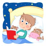 Daily routine actions - boy with light brown hair reading a bedtime story to his toys. Jpeg image - 300 dpi - RGB Royalty Free Stock Photos