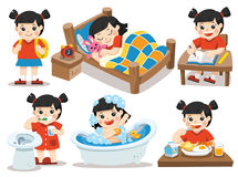 The daily routine of Asian girl on a white background. Isolated vector. The daily routine of Asian girl on a white background. [sleep, brush teeth, take a bath Stock Image