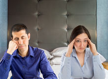 Routine in the bed of the marriage Royalty Free Stock Photos