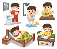 The daily routine of a cute boy on a white background. Isolated vector. The daily routine of a cute boy on a white background. [sleep, brush teeth, take a Stock Image