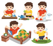 The daily routine of a cute boy on a white background. Royalty Free Stock Image