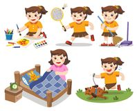 The daily routine of A cute girl on a white background. stock illustration