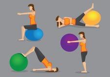Routine di allenamento con la palla di esercizio per le donne royalty illustrazione gratis