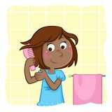 Adorable little black girl combing hair in the bathroom. Daily routine illustration - combing hair Stock Photos