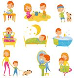 Daily routine of little boy. Kid eating breakfast, playing, doing physical exercises, waking up, sleeping, taking bath. Walking outdoors, brushing teeth stock illustration