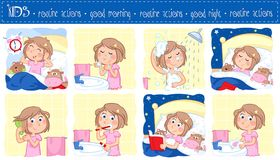 Daily routine of a little girl with light brown hair - Set of eight good morning and good night routine actions. Adorable illustration of a little girl with stock illustration
