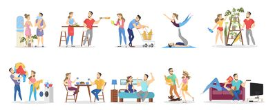 Daily routine of man and woman loving couple stock illustration