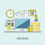 Routine office in flat thin line style Royalty Free Stock Images