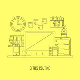 Routine office in flat thin line style Royalty Free Stock Photos