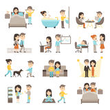 Daily Routine People Set Royalty Free Stock Photo