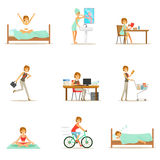 Routine quotidiana della donna moderna a partire dalla mattina ad anche la serie di illustrazioni del fumetto con il carattere fe illustrazione di stock