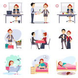Daily Routine set with Cute Girl Royalty Free Stock Images