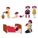 Daily routine set, little girl helping mother Royalty Free Stock Image