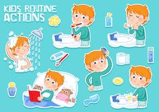 Little boy with ginger hair and his daily routine - cartoon. Daily routine - set of six routine actions - stickers - illustrations - little boy with ginger hair stock illustration