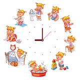 Daily routine with simple watches stock illustration