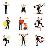 Daily routine of successful businessman set, businessman at work metaphor  Illustrations Stock Images