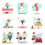 Daily Routine Vector set with cute girl Stock Images