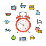 Daily Routines Concept Healthy Life. Vector. Daily Routines Concept Healthy Life Living Habit Icon Symbol Set with Alarm Clock. Vector illustration Stock Photography