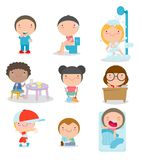 Daily routines for kids, set of Little child daily activities, Vector Illustration on white background. Daily routines for kids, set of Little child daily royalty free illustration