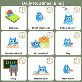 Daily Routines at a.m. sheet. Stock Image