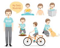 The Daily Routines Of Old Man royalty free illustration