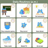 Daily Routines at p.m. sheet.  - Worksheet Royalty Free Stock Photos