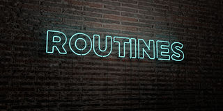 ROUTINES -Realistic Neon Sign on Brick Wall background - 3D rendered royalty free stock image Stock Images