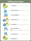 Daily Routines Worksheet. - Telling the time