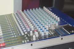 Routing, and changing the volume level, timbre . Audio, a mixing console is an electronic device for combining Stock Photos