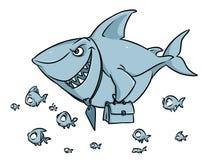 Rov- tecknad film för överlägsenhet för konkurrens för fiskhajaffär stock illustrationer